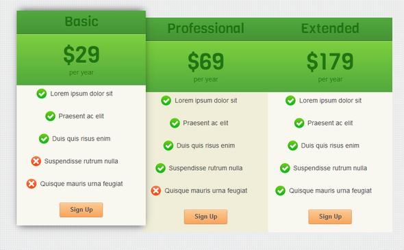 Tutorial tabla de precios CSS3 UI