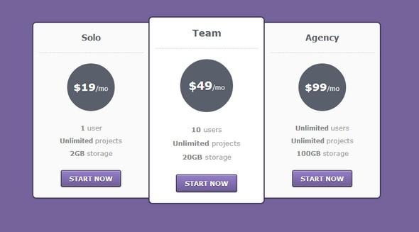 Tabla de precio en HTML & CSS3