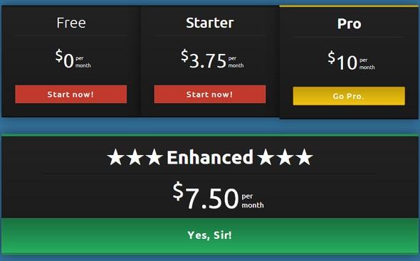 Una tabla de precios responsive